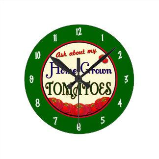Homegrown Tomatoes Retro Gardener Wall Clock