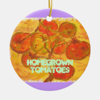 homegrown tomatoes round ceramic ornament
