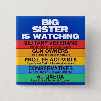 Homeland Security Advisory System 2 Inch Square Button