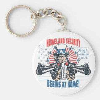 Homeland Security Begins with 2nd Amendment Basic Round Button Keychain