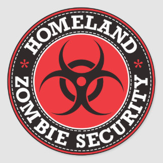 Homeland Zombie Security - Red B Round Sticker