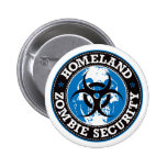 Homeland Zombie Security Skull - Blue 2 Inch Round Button