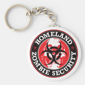 Homeland Zombie Security Skull - Red Basic Round Button Keychain
