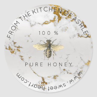 Homemade 100 % Honey From The Kitchen Marble Classic Round Sticker