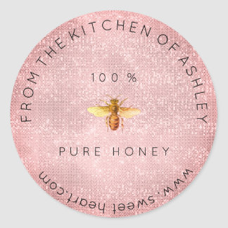 Homemade 100 % Honey From The Kitchen Pink Sparkly Classic Round Sticker