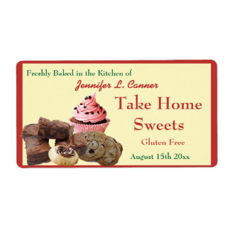 Homemade Baked Goods Assortment Poppy Red Edge Shipping Label