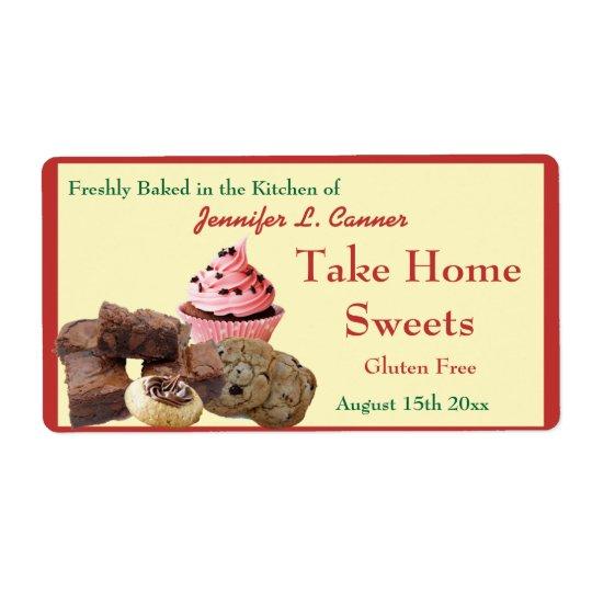 Homemade Baked Goods Assortment Poppy Red Edge Shipping Label
