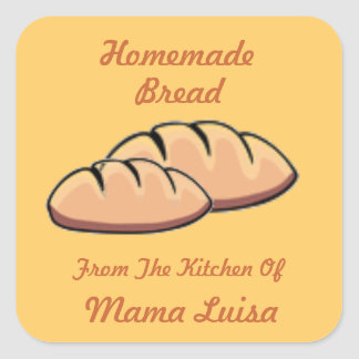 Homemade Bread Recipe Jar Label Custom Square Sticker