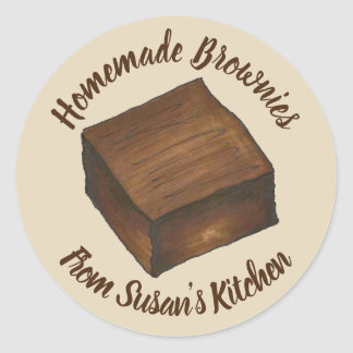 Homemade Brownies Personalized Baked By Kitchen Classic Round Sticker