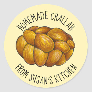 Homemade Challah Personalized Baked By Kitchen Classic Round Sticker