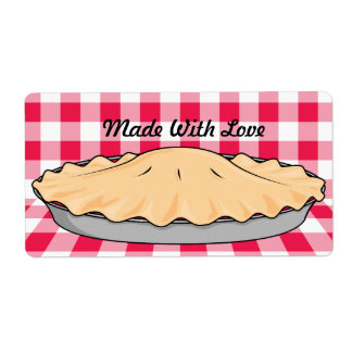 homemade cherry pie on checkered background shipping label