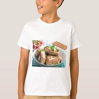 Homemade chicken burgers and tomato salad T-Shirt