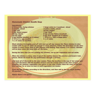 Homemade Chicken Noodle Soup Recipe Postcard
