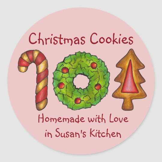 Homemade Christmas Cookies Homemade Baked Love Classic Round Sticker