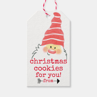 Homemade Christmas Cookies with Cute Santa Claus Gift Tags