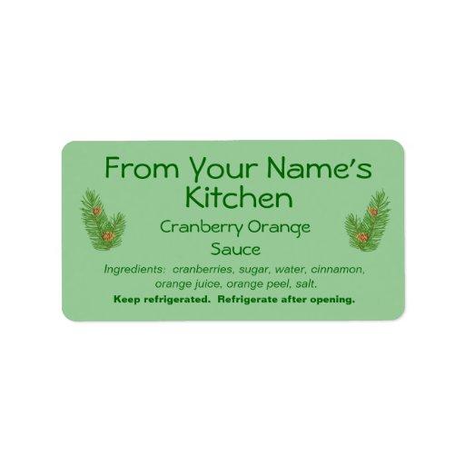 Homemade Christmas Preserves Food Labels Pine