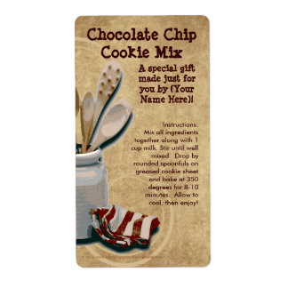 Homemade Cookie Mix Gift Jar Labels, Personalized Shipping Label