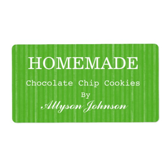 Homemade Cooking Green Stripes Background Labels