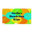 Homemade Dandelion Wine Custom Festive Gift Labels