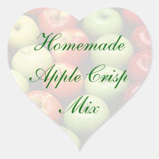 Homemade Green and Re Apple Crisp Mix Cannng Label Heart Sticker