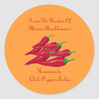 Homemade Homegrown Chili Pepper Salsa Gift Custom Round Sticker