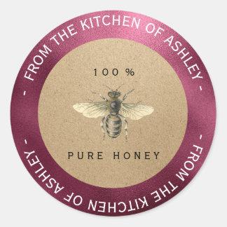 Homemade Honey Kitchen Kraft Bee Beetroot Burgundy Classic Round Sticker