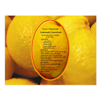 Homemade Lemonade Concentrate Recipe Postcard