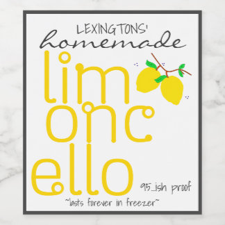 Homemade Limoncello Personalized Bottle Label |