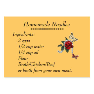 Homemade Noodles Recipe Card Pack Of Chubby Business Cards
