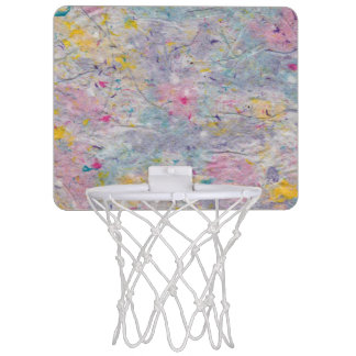 Homemade Paper with Colorful Pulp Accents Mini Basketball Hoop