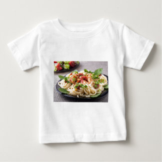 Homemade pasta with stewed chicken and vegetable baby T-Shirt