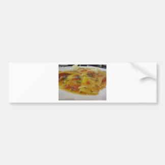 Homemade pasta with tomato sauce, onion, basil bumper sticker