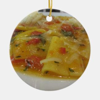 Homemade pasta with tomato sauce, onion, basil ceramic ornament