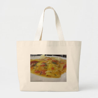 Homemade pasta with tomato sauce, onion, basil large tote bag
