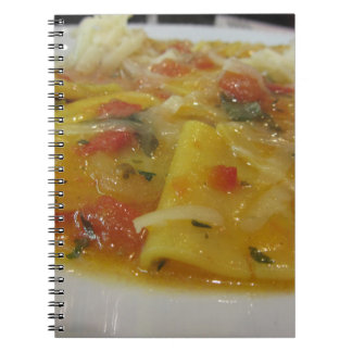 Homemade pasta with tomato sauce, onion, basil notebook
