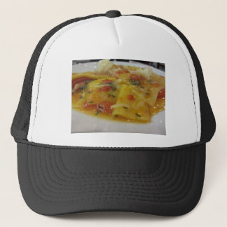 Homemade pasta with tomato sauce, onion, basil trucker hat