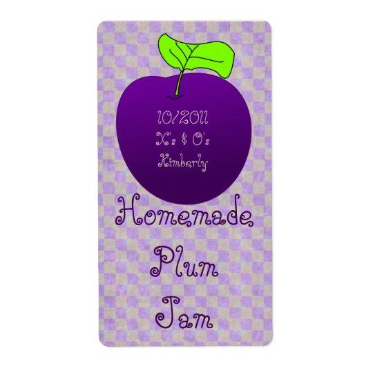 Homemade Plum Jam Jar Label (Customize)