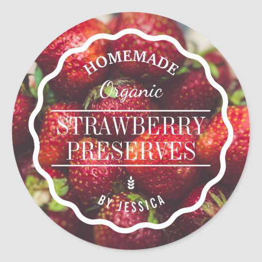 Homemade Preserves Strawberry Jam Kitchen Classic Round Sticker