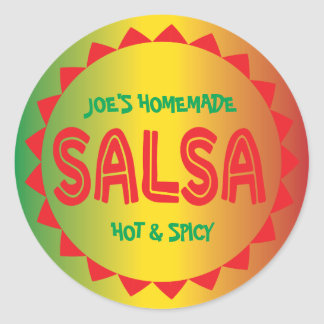 Homemade Salsa canning label red, green, & yellow