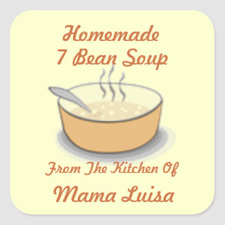 Homemade Steamy Soup Recipe Jar Label Customize Square Sticker