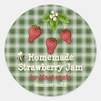 Homemade Strawberry Jam Jar Label (Customize) Round Sticker