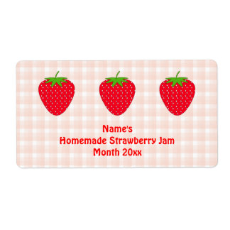 Homemade Strawberry Jam Label.Pink and Red.