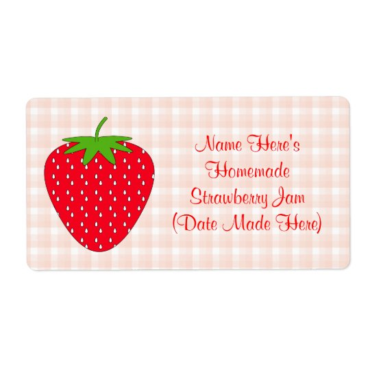 Homemade Strawberry Jam Label. Pink and Red.
