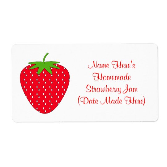 Homemade Strawberry Jam Label. White and Red.