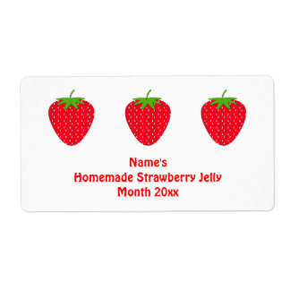 Homemade Strawberry Jelly Label. White and Red.
