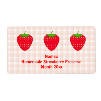 Homemade Strawberry Preserve Label. Pink and Red.