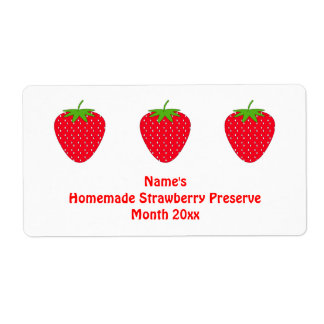 Homemade Strawberry Preserve Label. White and Red.