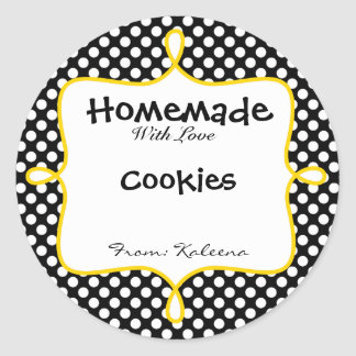 Homemade With Love Black&Yellow Polka Dot Round Sticker