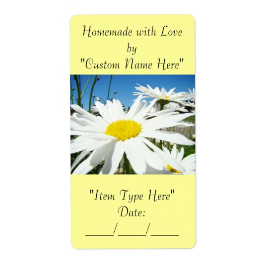 Homemade with Love Jar Can Gift Labels Tags Daisy