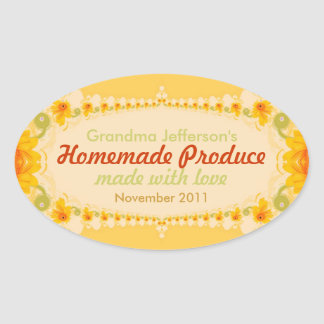 Homemade with Love Oval Label Sticker
